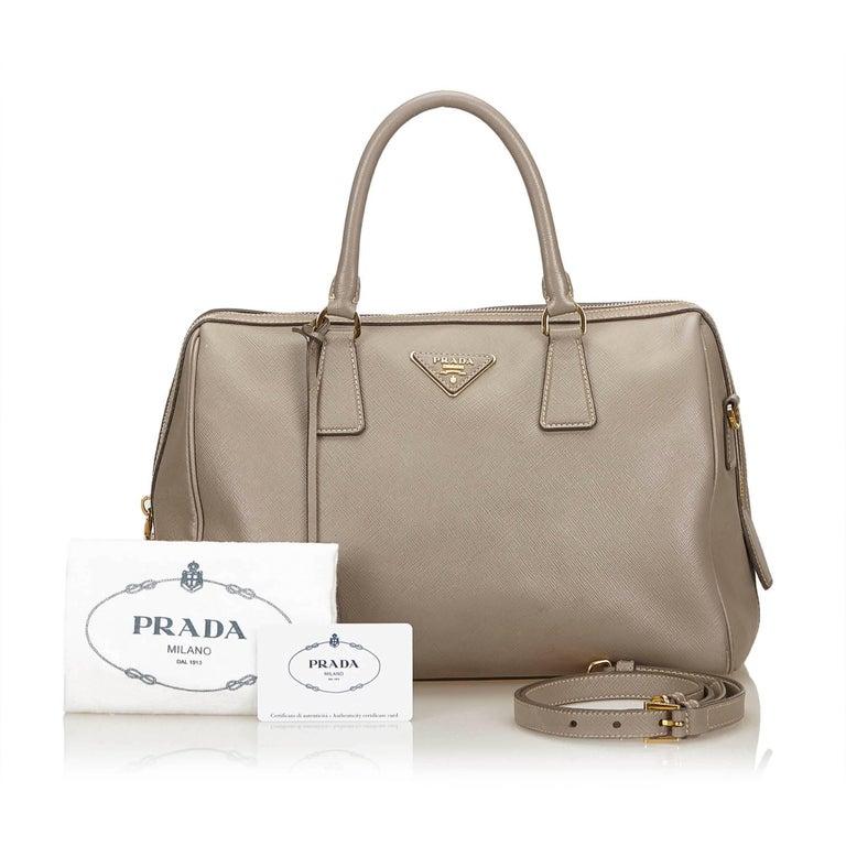 Prada Beige Saffiano 2 Way Bag For 5