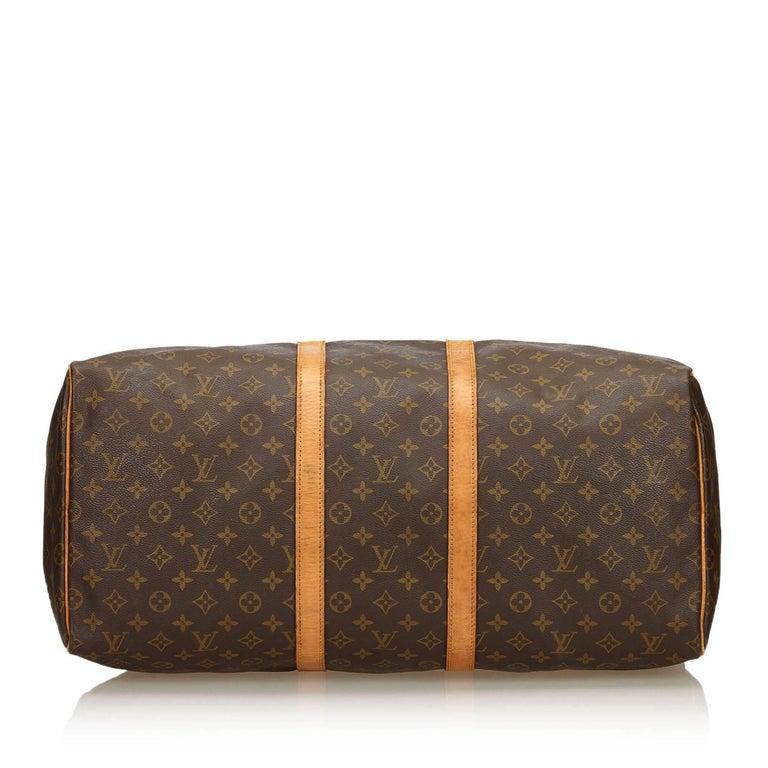 Women's or Men's Louis Vuitton Brown Monogram Keepall 55 For Sale