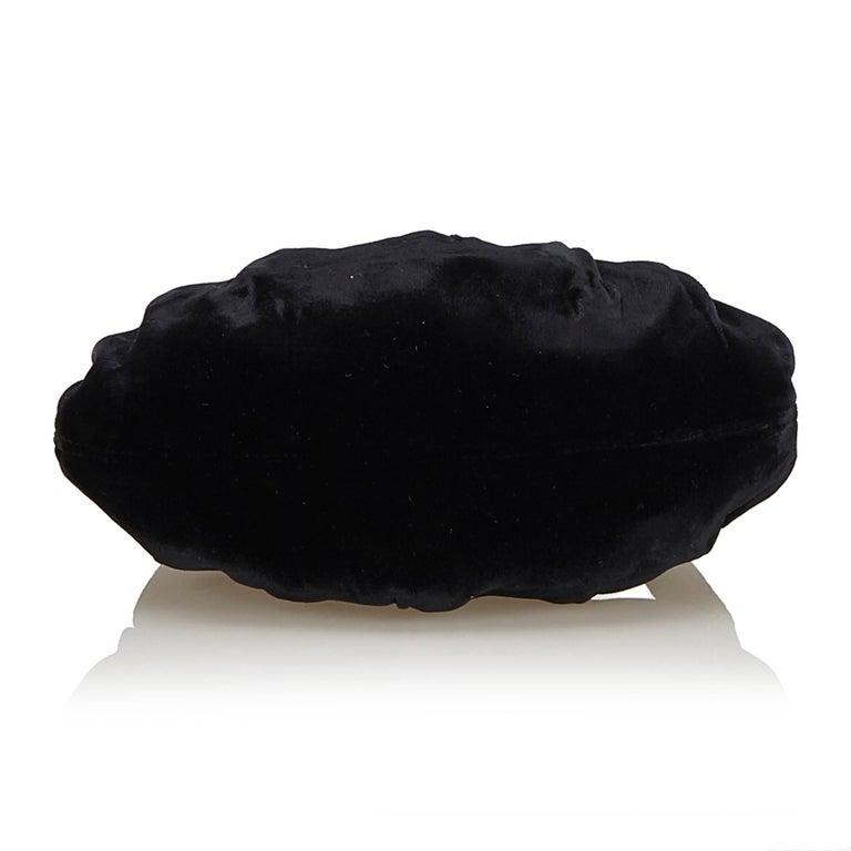 Women's or Men's Chanel Black Velour Handbag For Sale