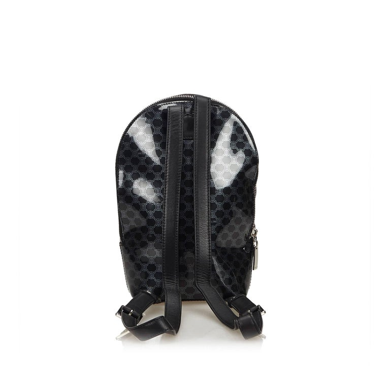 Celine Black Macadam Patent Leather Backpack In Good Condition For Sale In Orlando, FL