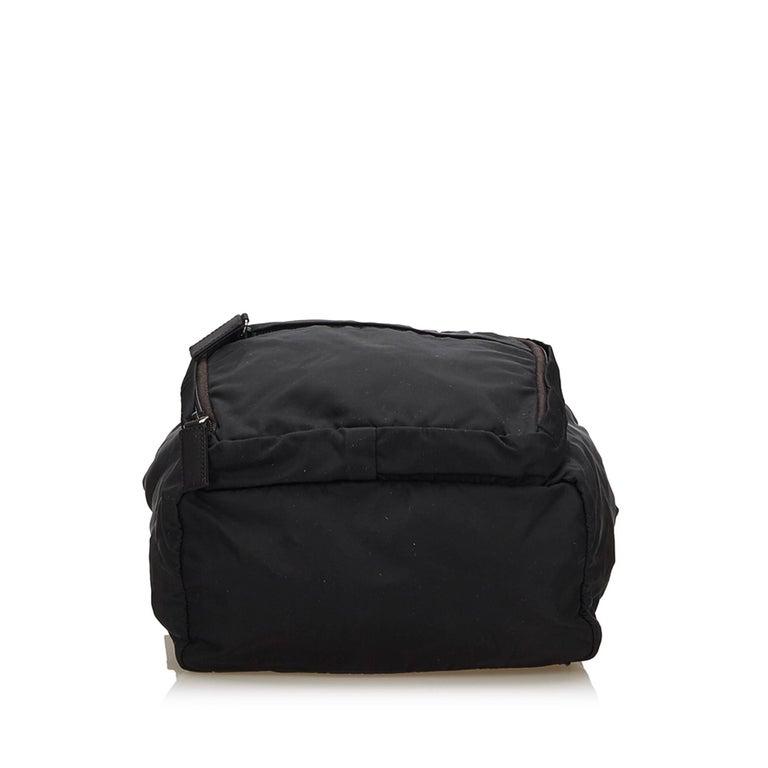 Prada Dark Brown Nylon Drawstring Backpack In Good Condition For Sale In Orlando, FL