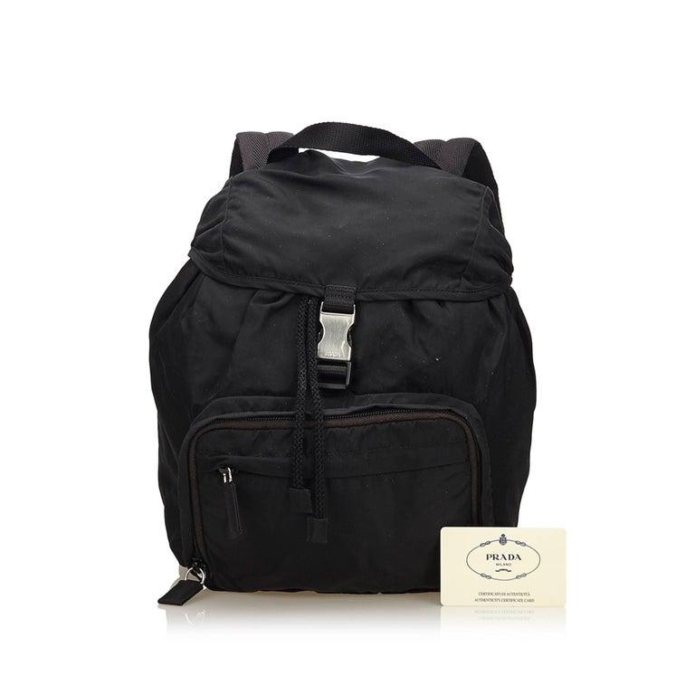 Prada Dark Brown Nylon Drawstring Backpack For Sale 4