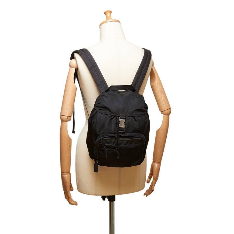 Prada Dark Brown Nylon Drawstring Backpack For Sale 3