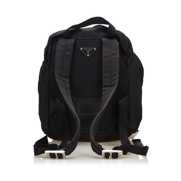 Black Prada Dark Brown Nylon Drawstring Backpack For Sale