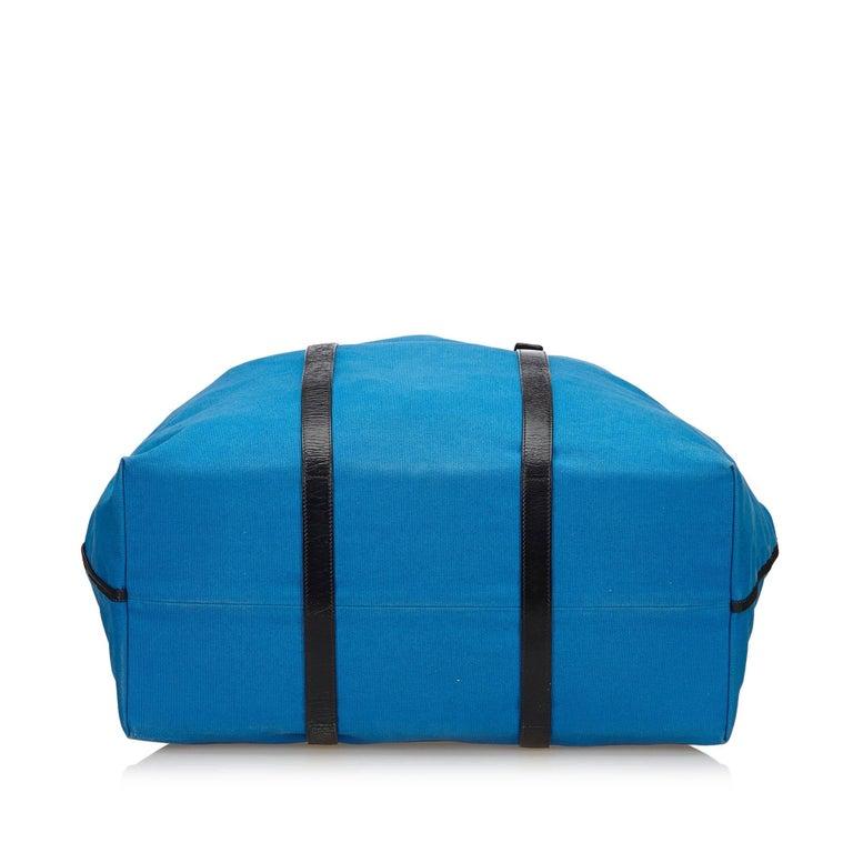 Women's or Men's Bottega Veneta Blue x Black Canvas Weekender For Sale