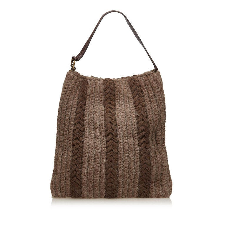 8bf2c05fc4 Brown Fendi Gray Wool Hobo Bag For Sale
