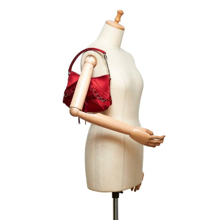568e2b8f44f8a Dior Red Satin Ballet Handbag For Sale 5