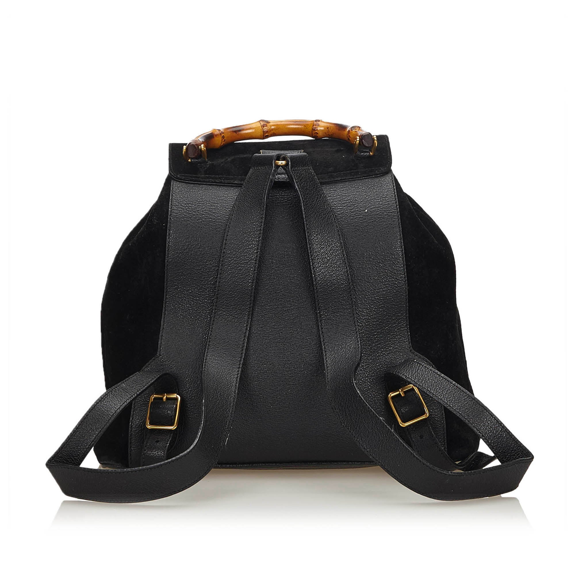 708078ed181 Gucci Black Suede Bamboo Backpack For Sale at 1stdibs