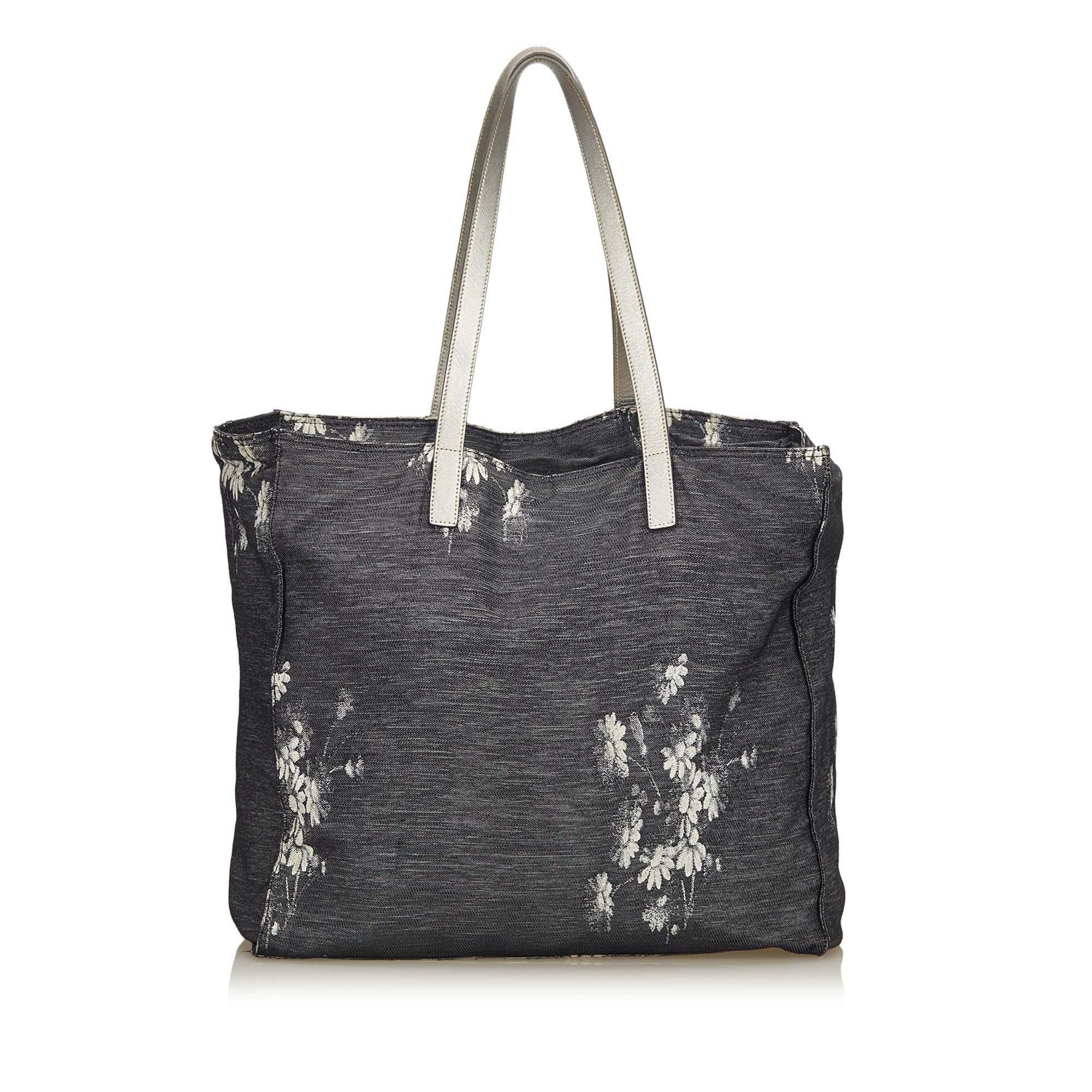 ... coupon black prada navy floral canvas tote bag for sale 8a3f3 a52c7  shopping prada tessuto ... 1194b3a251238