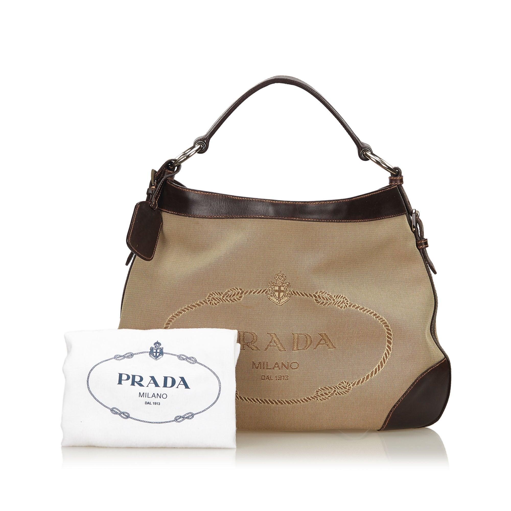 cd3490244142 92abb 9c0a2; netherlands prada brown logo jacquard hobo bag for sale at  1stdibs 95e5c 5e159