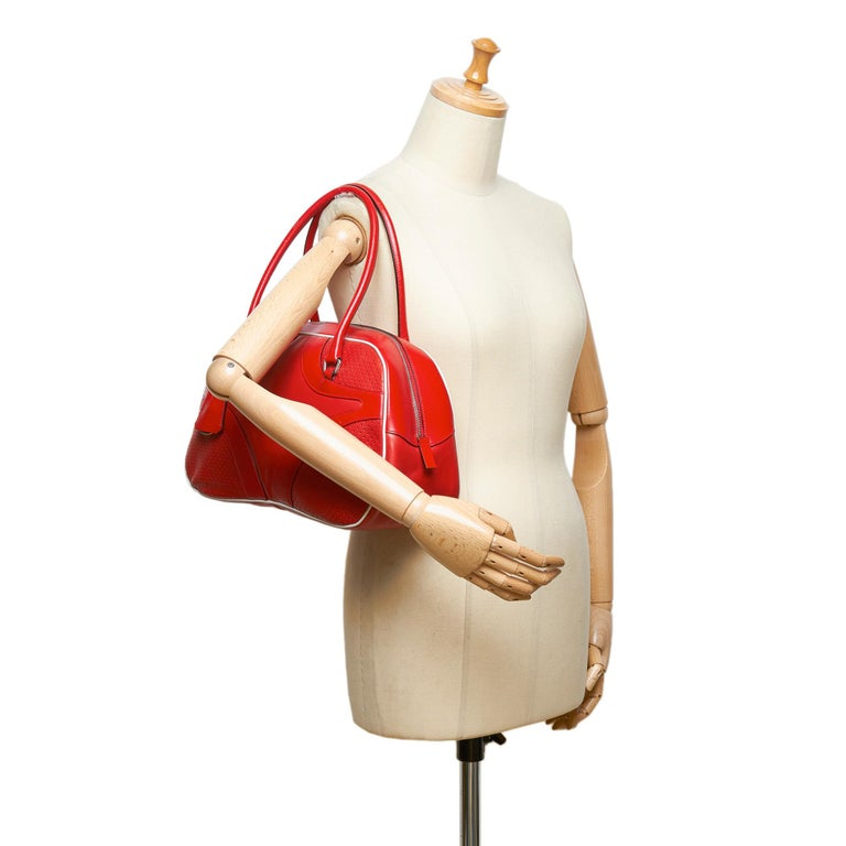 6fae8181e0db Prada Red Perforated Leather Shoulder Bag For Sale at 1stdibs