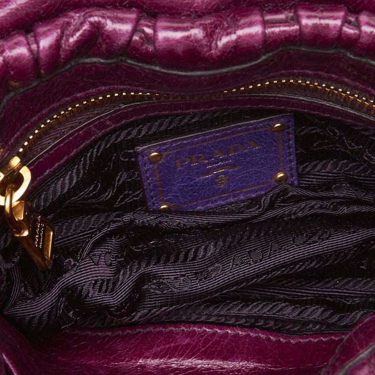 dc8fcd280513b1 Women's or Men's Prada Purple Mini Gathered Leather Chain Crossbody Bag For  Sale