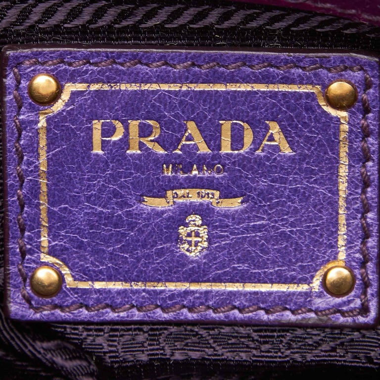70f4afd1a568 Prada Purple Mini Gathered Leather Chain Crossbody Bag For Sale 1
