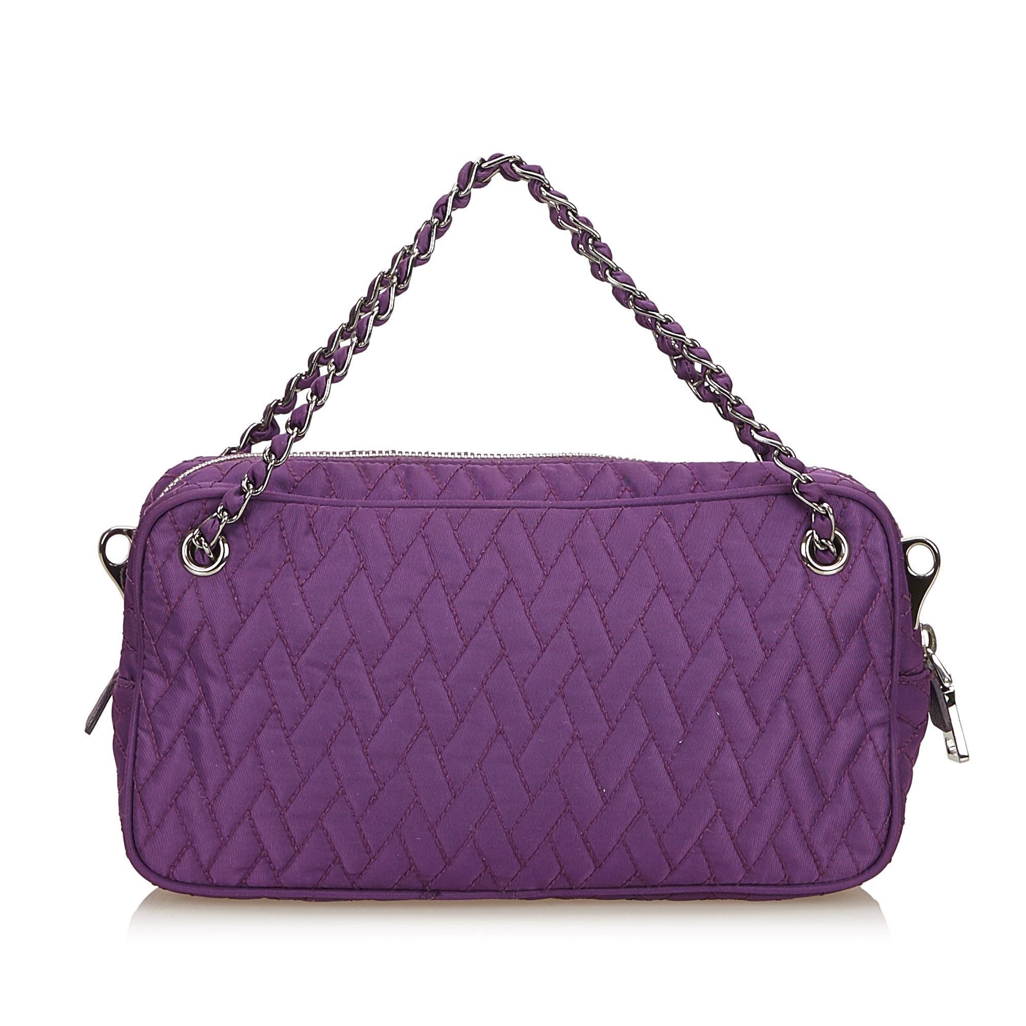 4f59bcdc601b Prada Purple Quilted Nylon Chain Satchel