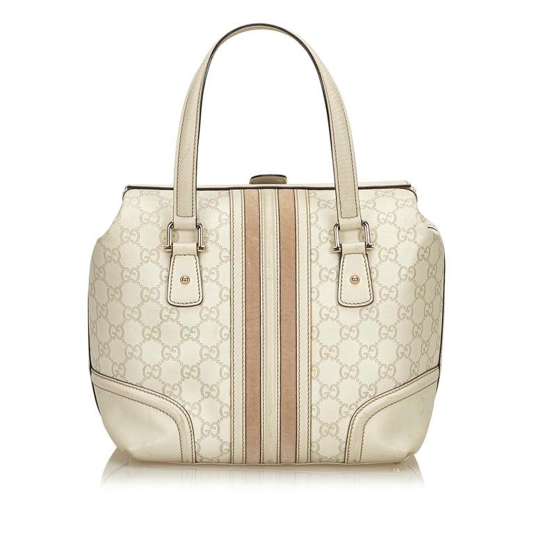 Gucci White Guccissima Leather Treasure Boston Bag In Good Condition For Sale In Orlando, FL