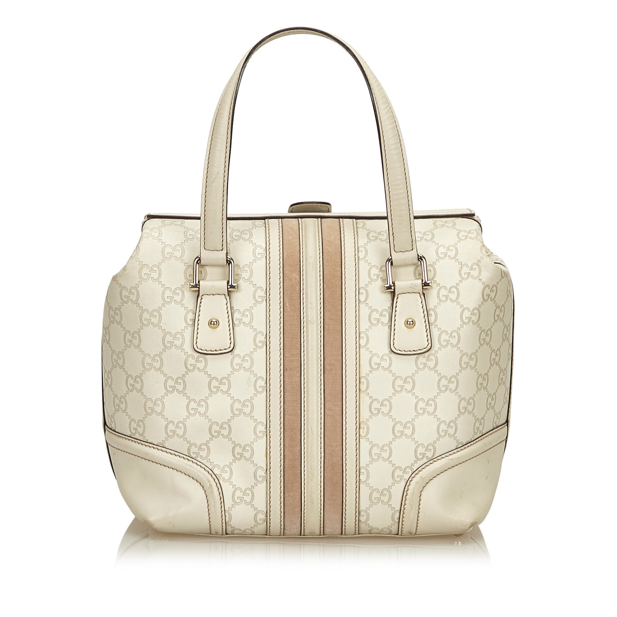 b40f1a84a0f1 Gucci White Guccissima Leather Treasure Boston Bag For Sale at 1stdibs