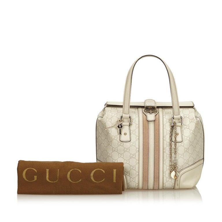 Gucci White Guccissima Leather Treasure Boston Bag For Sale 8