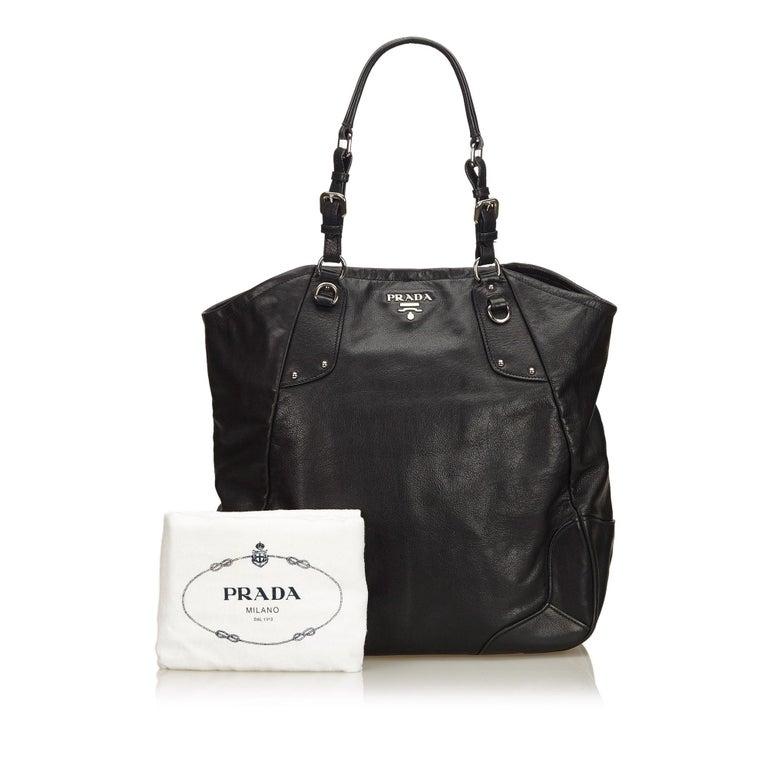 015e115875 Prada Black Leather Tote Bag at 1stdibs