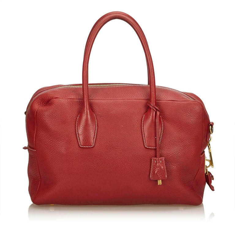 528614baaa14 Prada Red Vitello Daino Leather Satchel In Good Condition For Sale In  Orlando