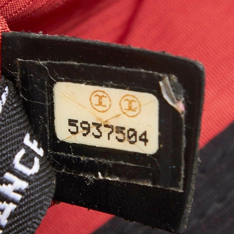 Chanel Black x White Old Travel Nylon Backpack For Sale 3