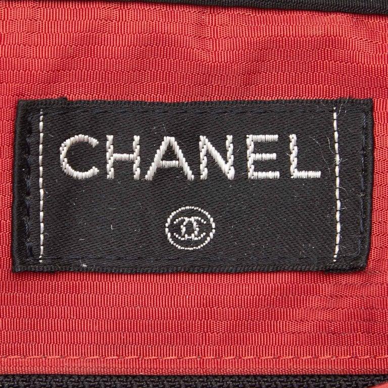 Chanel Black x White Old Travel Nylon Backpack For Sale 2