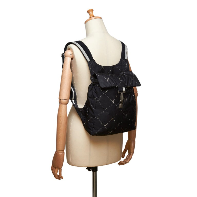 Chanel Black x White Old Travel Nylon Backpack For Sale 5