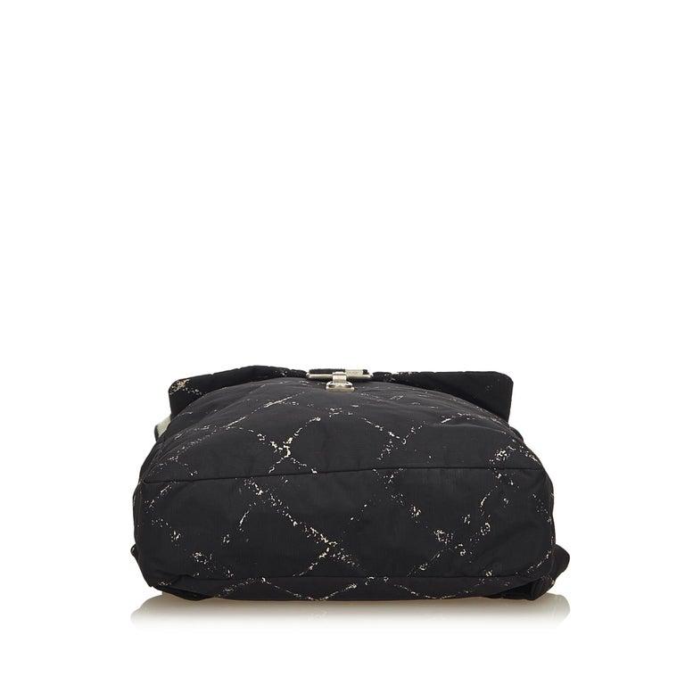 Women's or Men's Chanel Black x White Old Travel Nylon Backpack For Sale