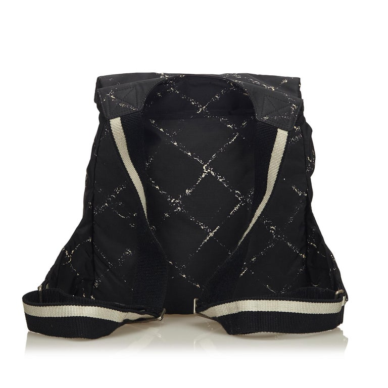 Chanel Black x White Old Travel Nylon Backpack In Good Condition For Sale In Orlando, FL
