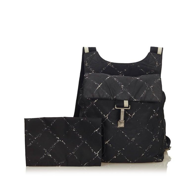 Chanel Black x White Old Travel Nylon Backpack For Sale 6