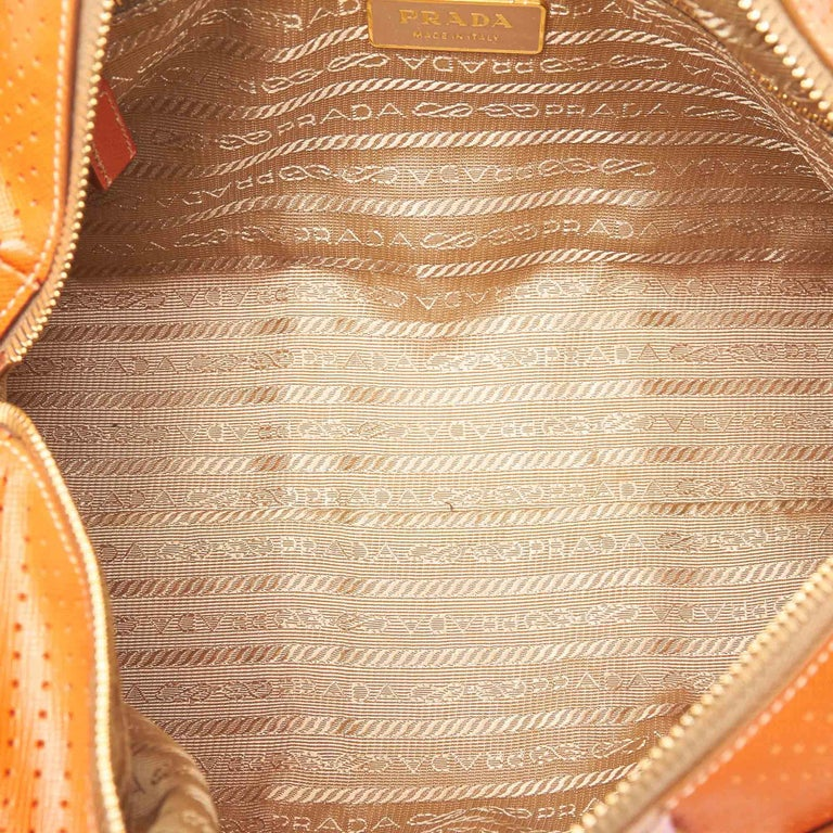 d5f34a810c66 Prada Orange x Pink Perforated Saffiano Fori Striped Bauletto For Sale 1