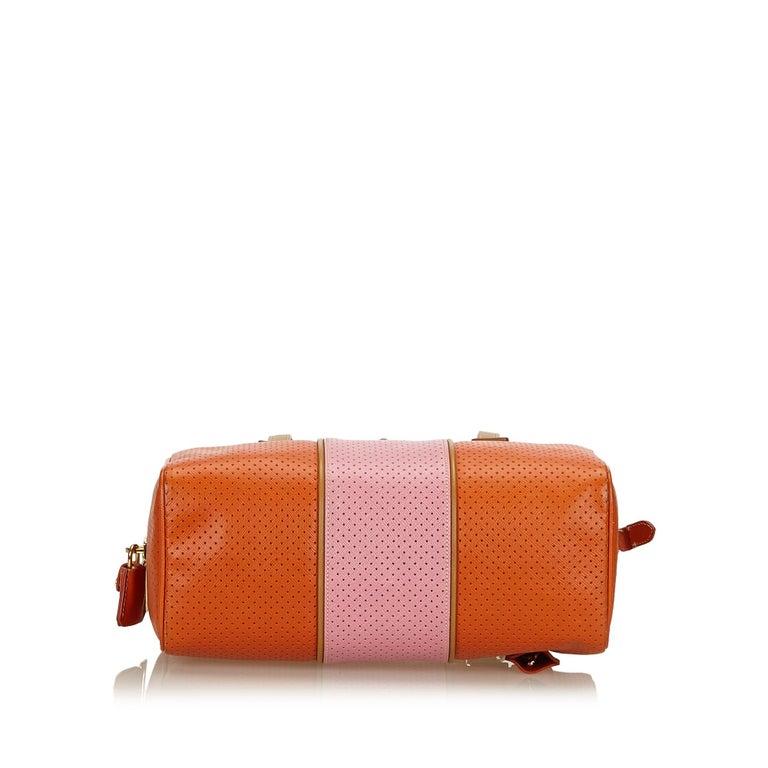8506413e92eb Women's or Men's Prada Orange x Pink Perforated Saffiano Fori Striped  Bauletto For Sale