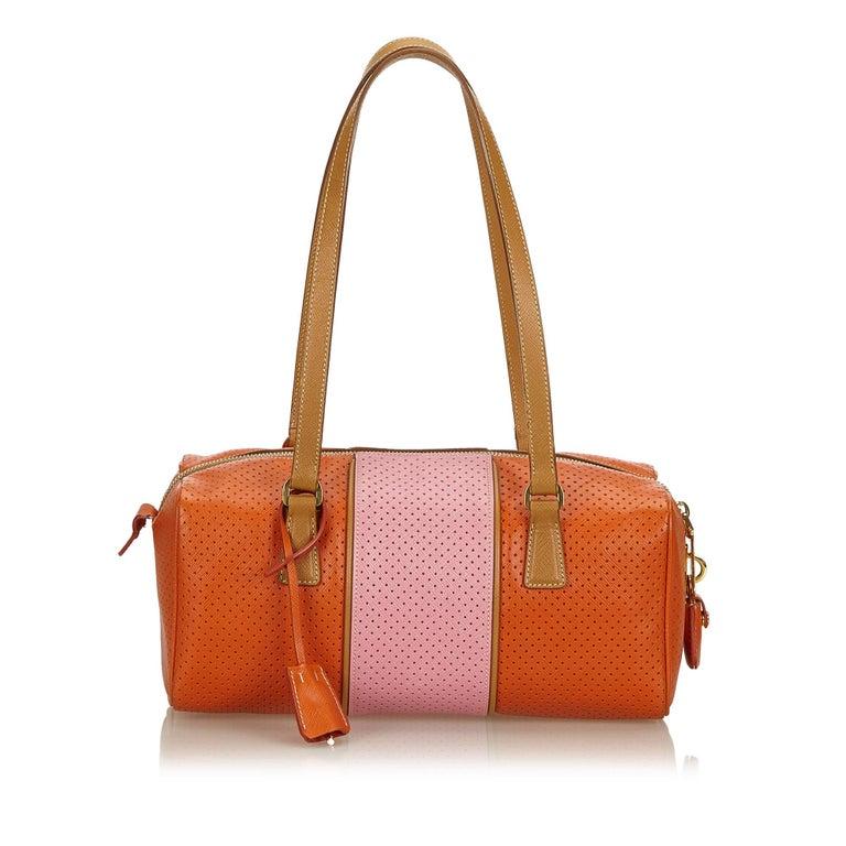 5e40ddb6d04f Prada Orange x Pink Perforated Saffiano Fori Striped Bauletto In Good  Condition For Sale In Orlando