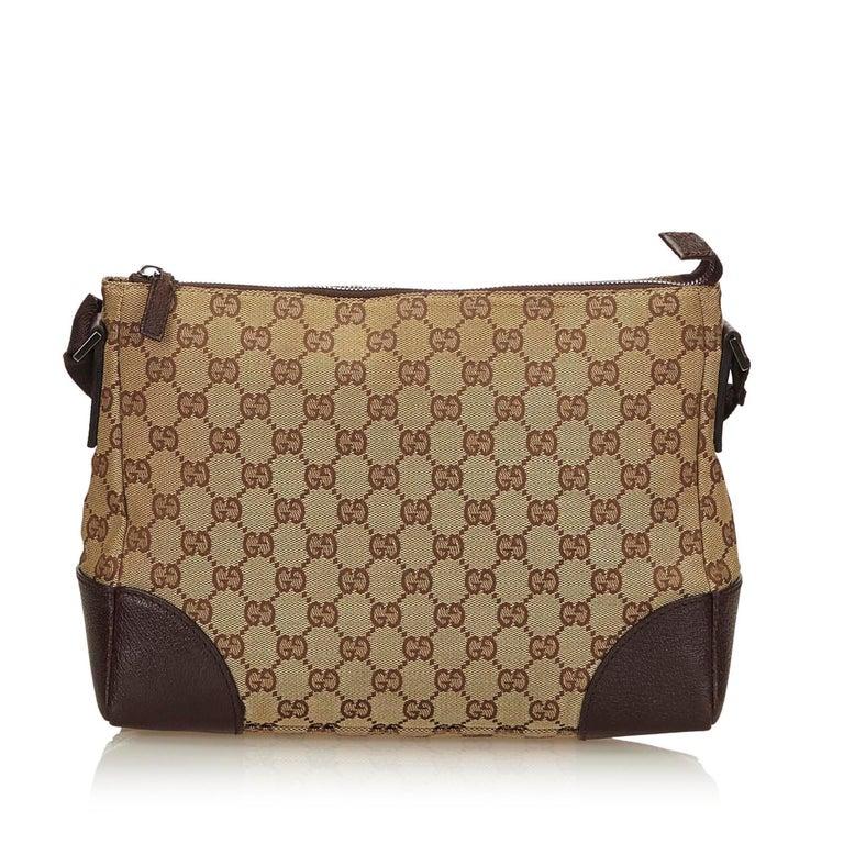 0a76484f26f Gucci Brown x Beige Guccissima Canvas Crossbody Bag In Good Condition For  Sale In Orlando