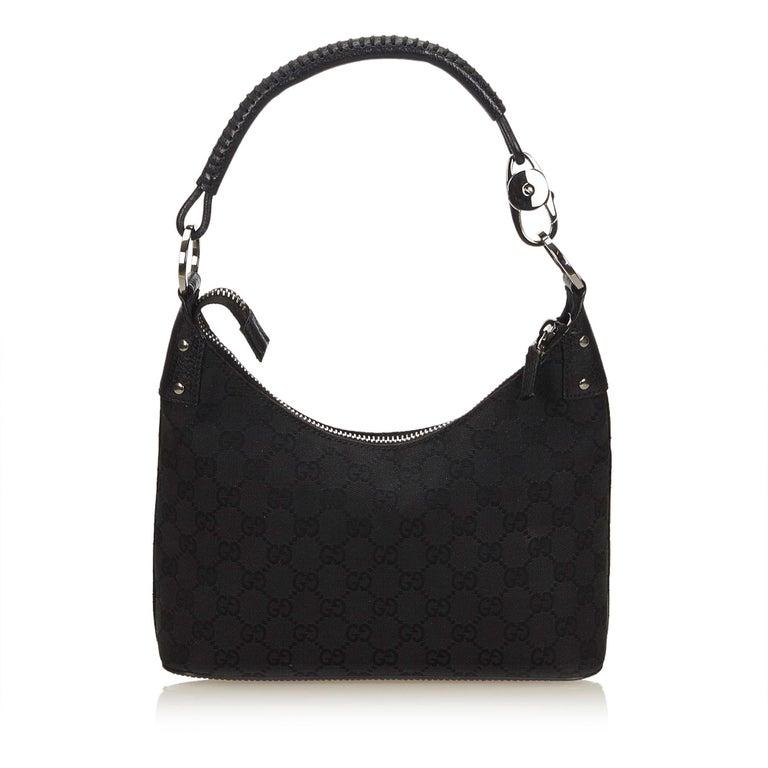 e02f615bf64 Gucci Black Guccissima Jacquard Hobo bag In Good Condition For Sale In  Orlando