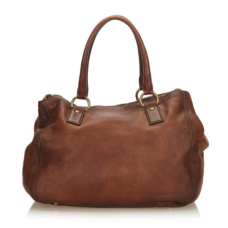 8ce2172f6517 Prada Brown Leather Satchel In Good Condition For Sale In Orlando