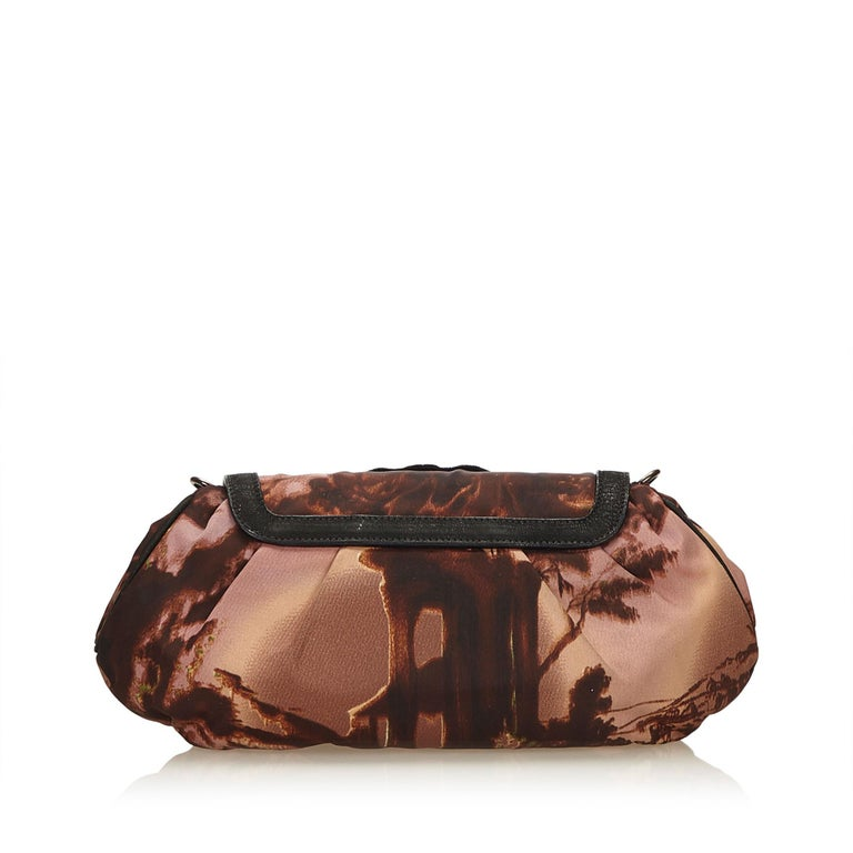 071214572a Black Prada Brown x Multi Studded Nylon Clutch For Sale