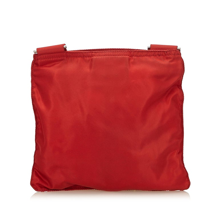 259d24f11cb141 Prada Red Nylon Crossbody Bag In Good Condition For Sale In Orlando, FL