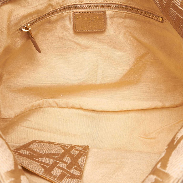 Dior Brown x Beige Cannage Printed Jacquard Hobo For Sale 1