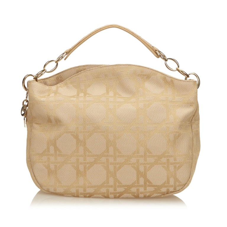Dior Brown x Beige Cannage Printed Jacquard Hobo In Good Condition For Sale In Orlando, FL