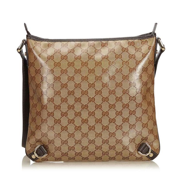 d0ec791e46e Gucci Brown Guccissima Crystal Abbey Crossbody Bag In Good Condition For  Sale In Orlando