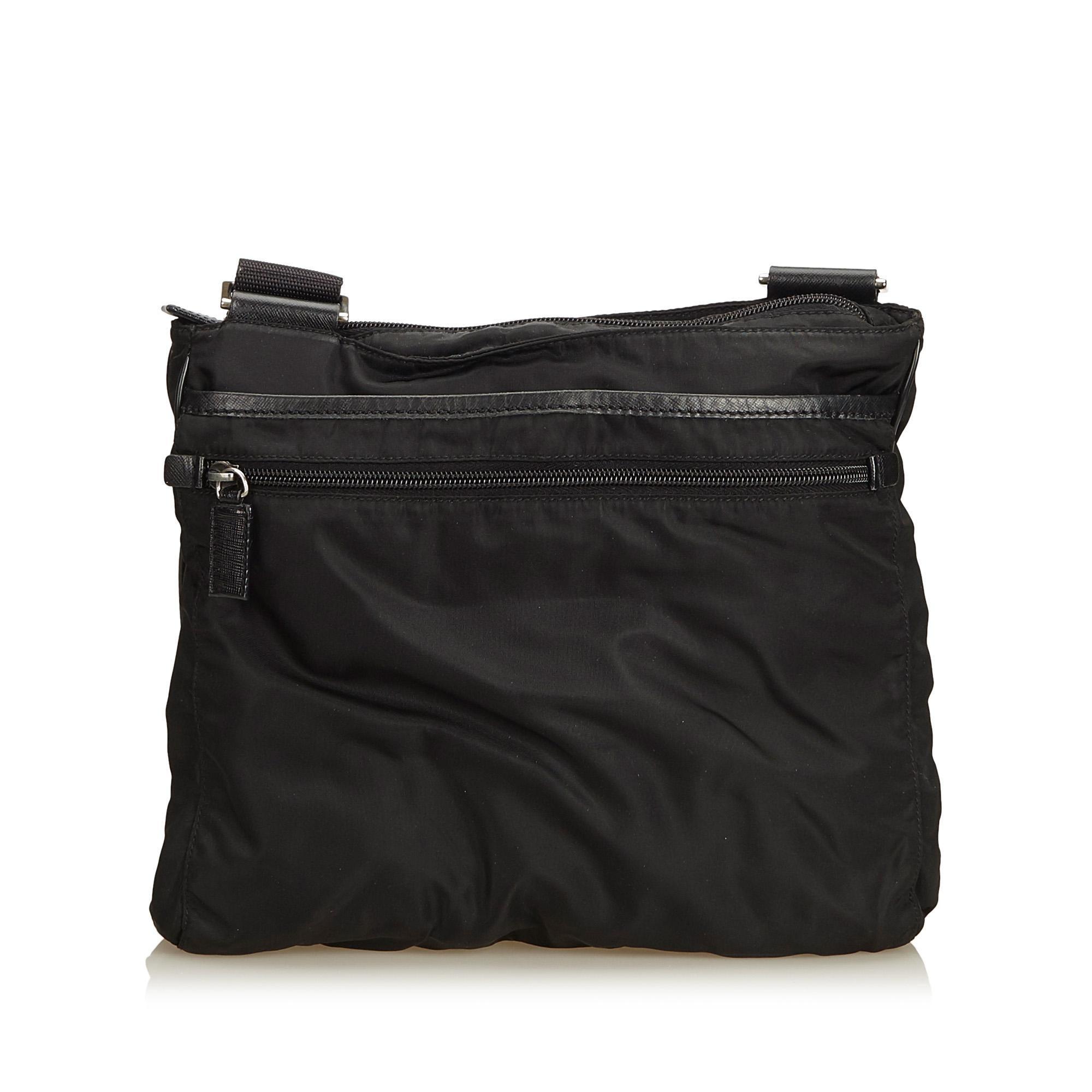 439529a7e81281 Prada Black Tessuto Nylon Crossbody Bag at 1stdibs