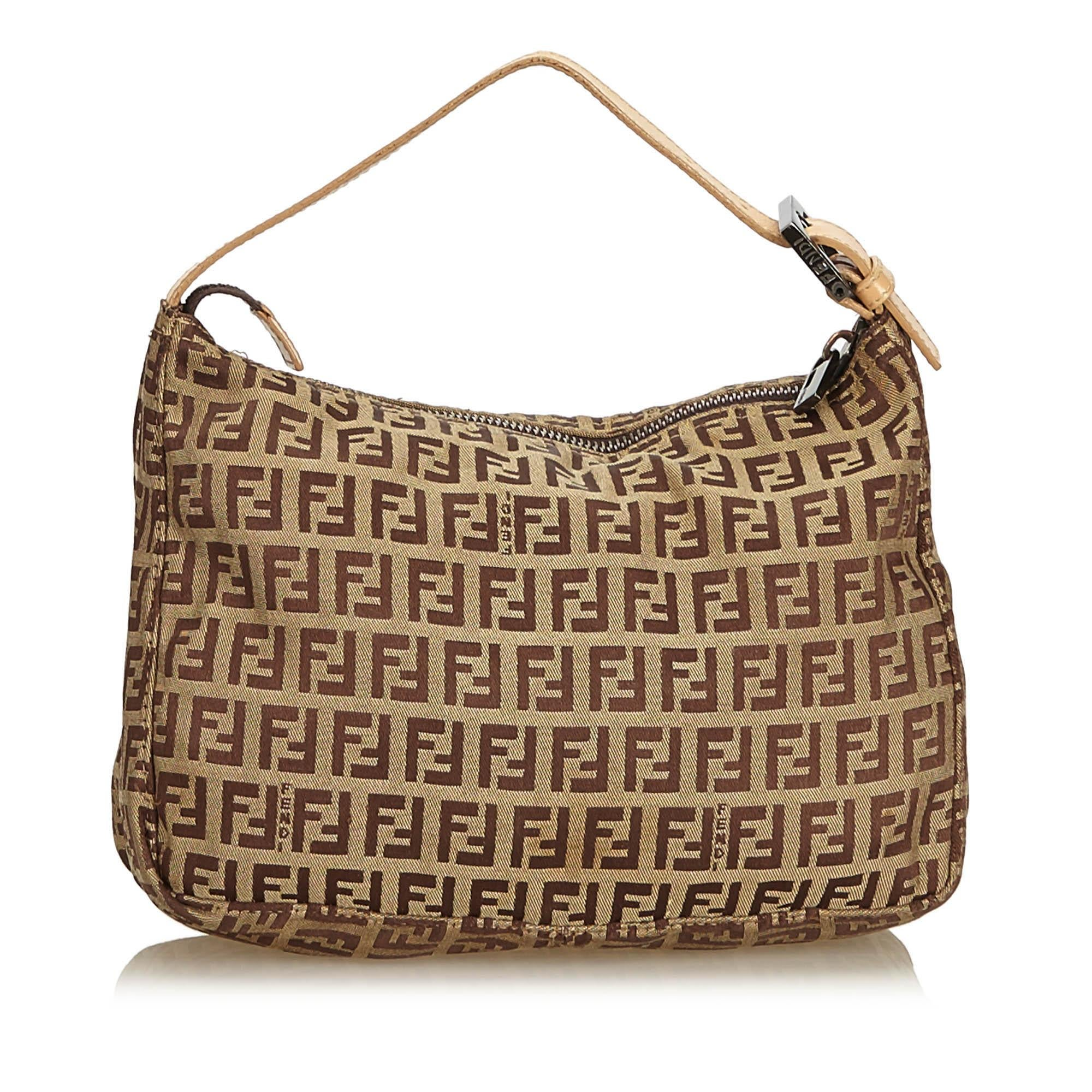 573cbcc01eb6 Fendi Brown x Beige Zucchino Canvas Handbag at 1stdibs