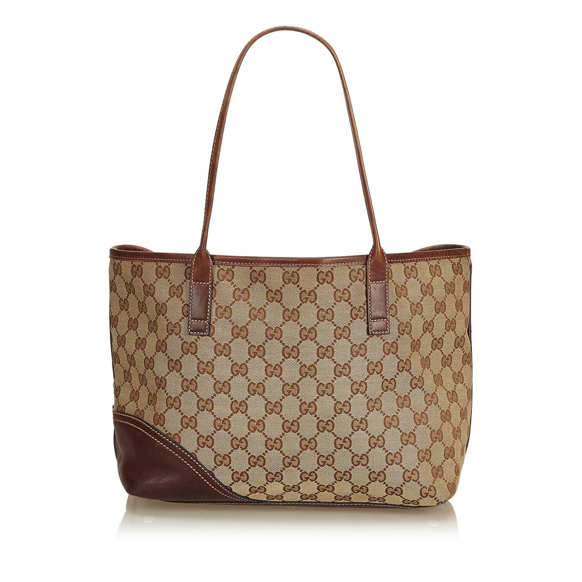 c2faa68b7310 Gucci Brown x Beige Guccissima Canvas Britt Tote Bag at 1stdibs