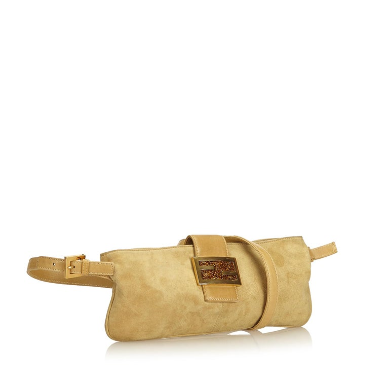 ddc15bb93831 Fendi Brown x Beige Suede Crossbody Bag For Sale. This crossbody bag  features a suede body