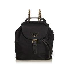 Prada Black Nylon Chain Drawstring Backpack