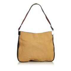 Gucci Brown x Beige Web Canvas Shoulder Bag