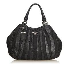 Prada Black Pleated Nylon Handbag