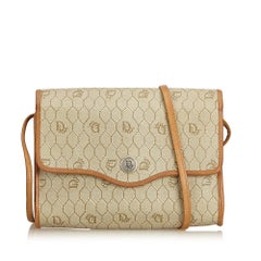 Dior Brown x Beige Honeycomb Coated Canvas Crossbody Bag