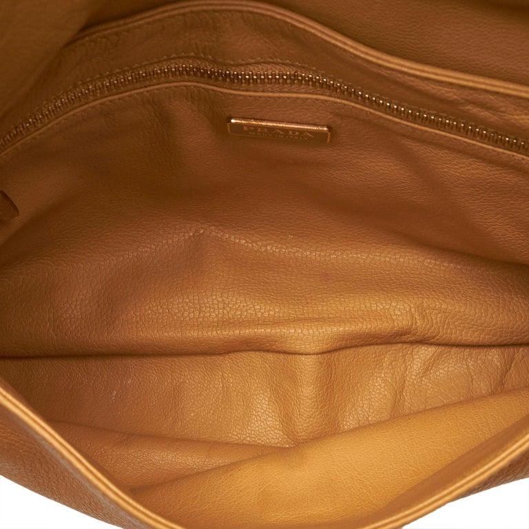 fed54ea0 Prada Brown x Beige Leather Chain Shoulder Bag