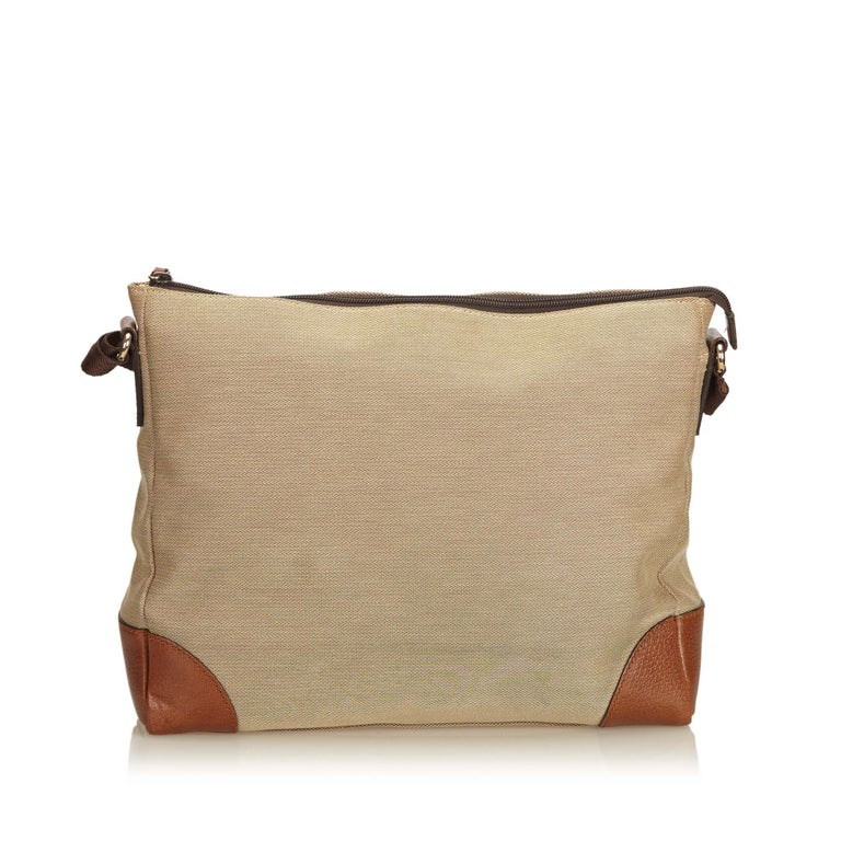 78e94faf54 Gucci Brown x Beige Canvas Crossbody Bag